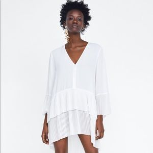 Zara pleated blouse (tunic/dress) xs bnwt